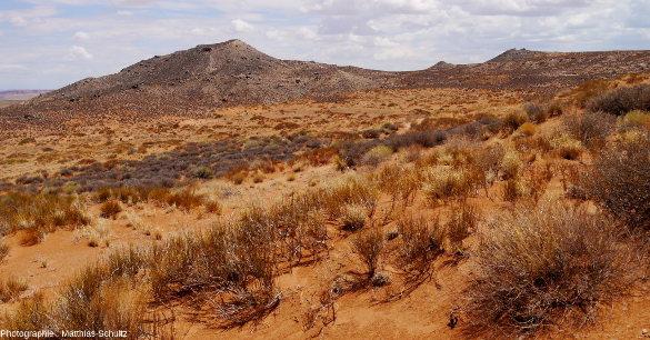 Un diatrème mineur, très érodé, à proximité du village de Mexican Water, Arizona