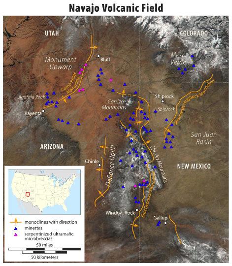 Carte du Navajo Volcanic Field