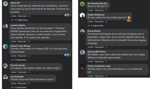 Commentaires sur la page Facebook de l'Observatoire volcanologique de Goma suite à la publication de l'interférogramme