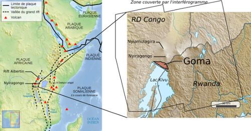 Localisation du Nyiragongo et de la ville de Goma (Rép. dém. Congo) sur la carte du Rift Est-africain