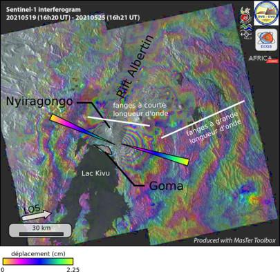 Interférogramme annoté couvrant l'éruption de mai 2021 du volcan Nyiragongo (Rép. dém. Congo)