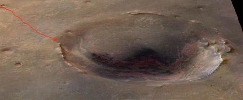 Image Google Mars du cratère Endeavour (D= 22km, P= 300m)