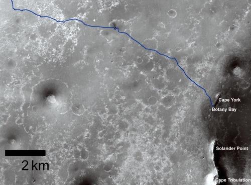 Carte des dix derniers kilomètres du trajet suivi par Opportunity pour arriver sur la bordure du cratère Endeavour