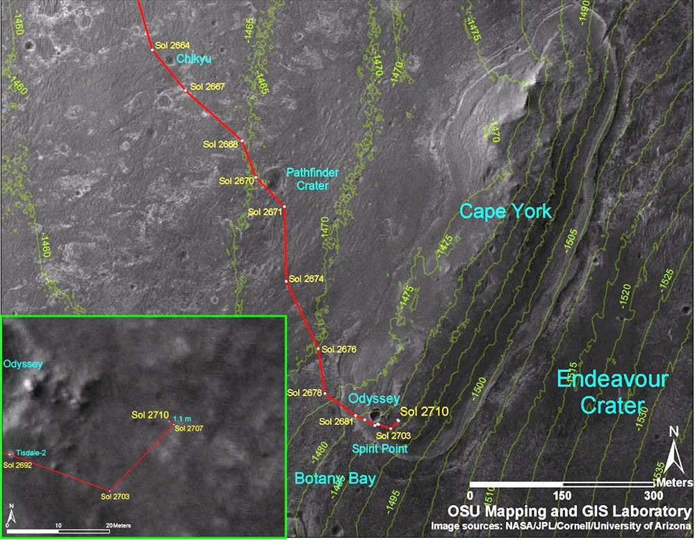 Carte détaillée du secteur de Botany Bay / Cape York, secteur du bord O-NO du cratère Endeavour où est arrivé Opportunity
