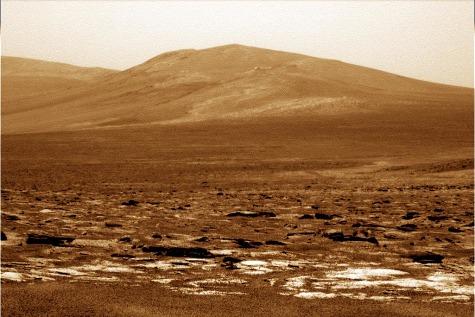 Zoom sur Solander Point, au bord du cratère Endeavour