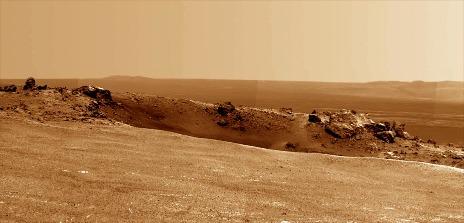 Zoom sur le «jeune» petit cratère Odyssey qui perfore la bordure O-NO du cratère Endeavour