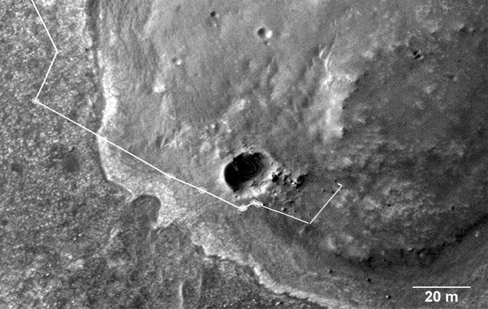 Trajet détaillé d'Opportunity du sol (jour martien) 2676 au sol 2710