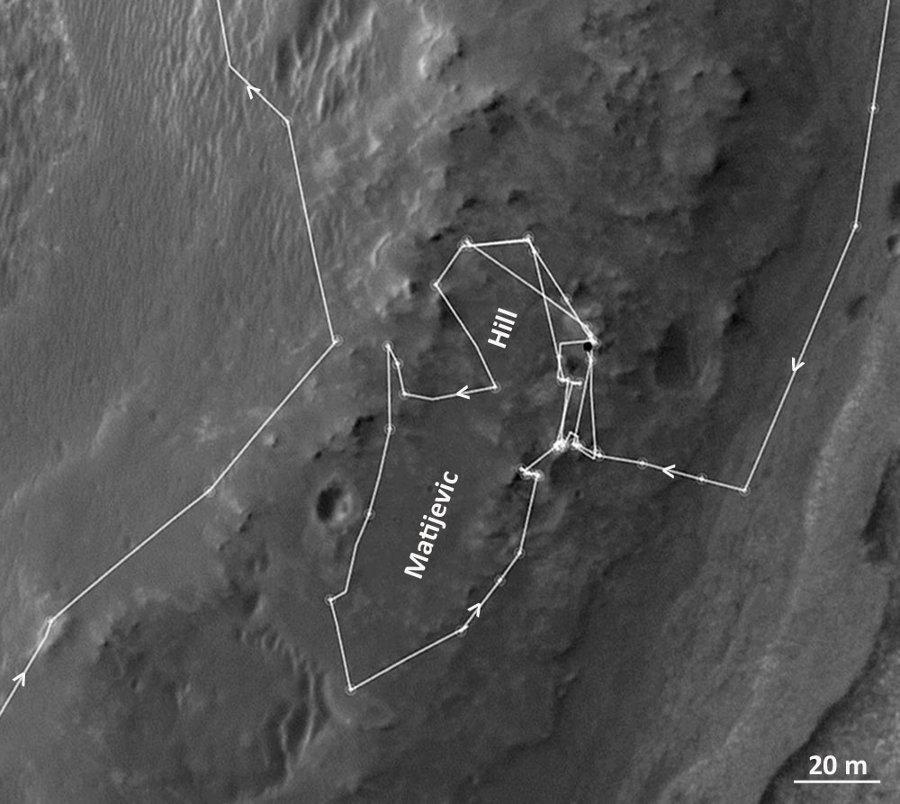 Zoom sur la carte de la figure précédente montrant le trajet effectué par Opportunity entre mi-septembre 2012 et mi-mai 2013 autour de Matijevic Hill
