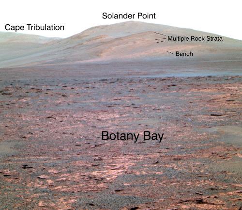 Vue globale sur Solander Point, le futur objectif d'Opportunity, 1er juin 2013 (sol 3325)