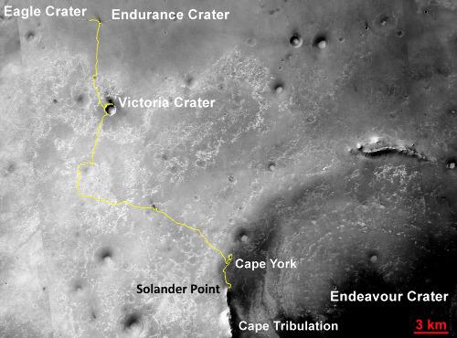 Carte globale du trajet d'Opportunity depuis Eagle Crater (janvier 2004) jusqu'à Solander Point (29 août 2013)