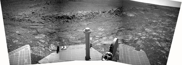 """Vue """"générale"""" de l'un des """"gradins"""" qui dominent la limite terrain clair / terrain sombre au pied de Solander Point"""