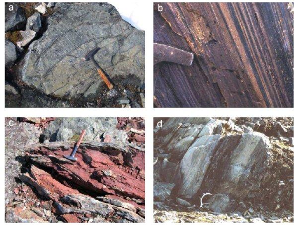 Quatre types de roches de 3,8 Ga, Isua, Groenland