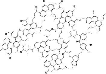 Exemple de structure moléculaire possible de la matière organique insoluble des météorites