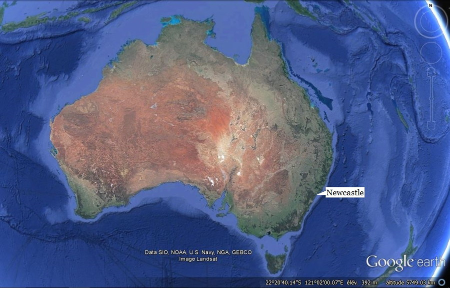 Localisation de Newcastle, au Sud de la côte Est de l'Australie