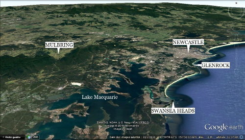 Localisation des sites de Mulbring, Swansea Heads et Glenrock, près de Newcastle (Australie)
