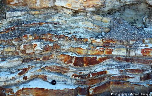 Zoom sur des petits mamelons de houle (Hummocky Cross Stratification), Swansea Heads (Australie)