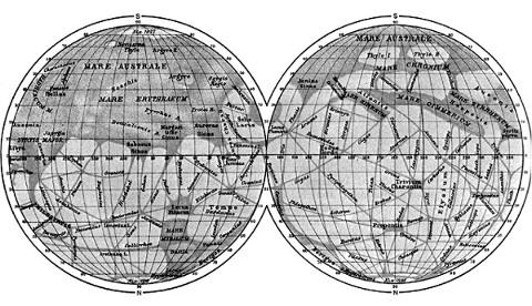 Carte de Mars par Schiaparelli, 1888