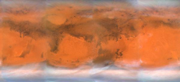 Photographie composite de Mars réalisée avec le télescope spatial Hubble en 2007