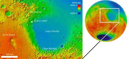 Situation du cratère Jezero et de la région de Nili Fossae sur une carte topographique de Mars en fausses couleurs