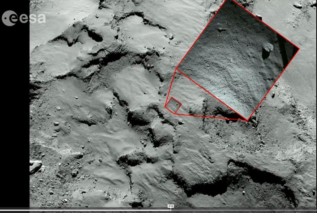 Position de la zone d'atterrissage photographiée par Philae depuis 40m d'altitude sur une photo à plus grand champ prise par Rosetta depuis 30km d'altitude