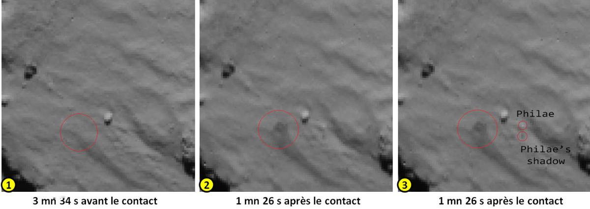 Images du premier contact de Philae avec le sol de la comète 67P/CG