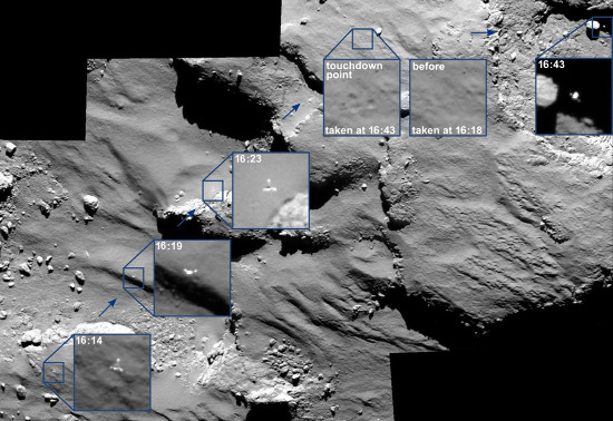 Détail des contacst et rebonds de Philae sur mosaïque de fond réalisée à partir de 4 images OSIRIS prises entre 16h14min et 16h43min (heure de France métropolitaine), 20min, 15min et 11min avant l'impact, puis 9min après l'impact