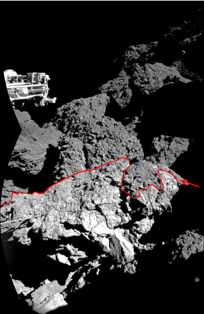 Image interprétée de la paroi éclairée par le Soleil contre laquelle serait coincé Philae