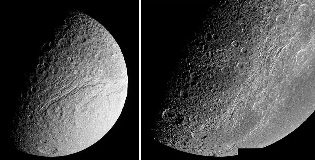Téthys et Dioné, autres corps de glace à canyons du système solaire