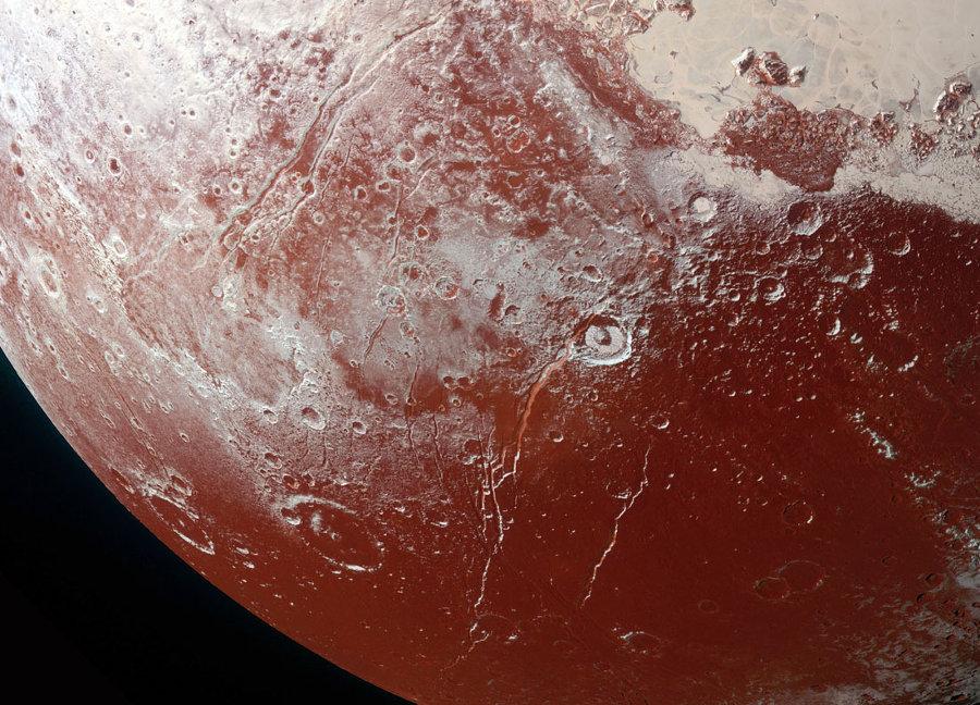 Détail de la partie inférieure gauche de l'image globale de Pluton
