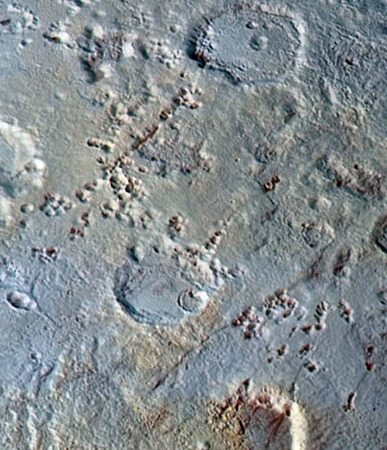 Zoom sur une région du pôle Nord de Pluton