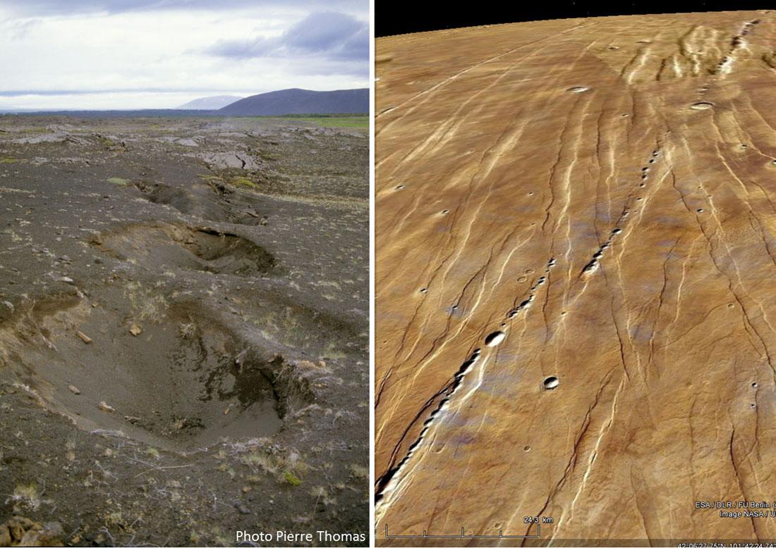 """Exemples terrestre et martien de """"puits"""" alignés n'étant pas dus aux impacts d'une météorite fragmentée (catena)"""