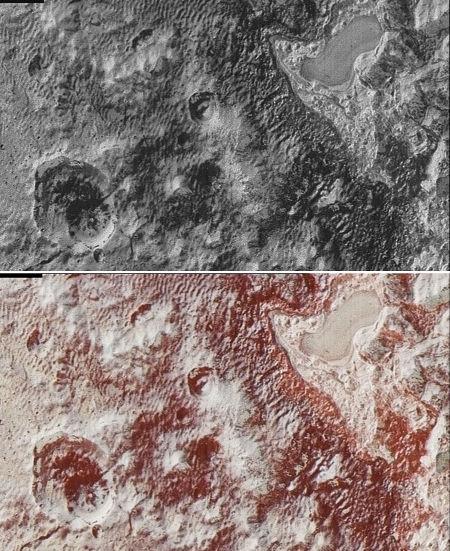 Images en noir et blanc et en fausses couleurs de la dépression signalée vers les Al-Idrisi Montes, Pluton