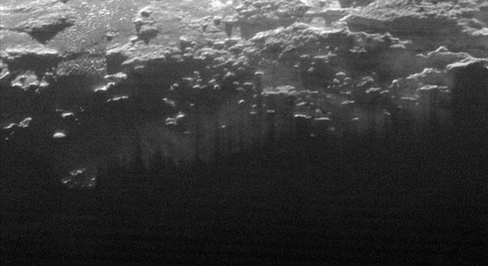 Zoom sur le terminateur à l'Est de la pointe Sud de Sputnik Planum
