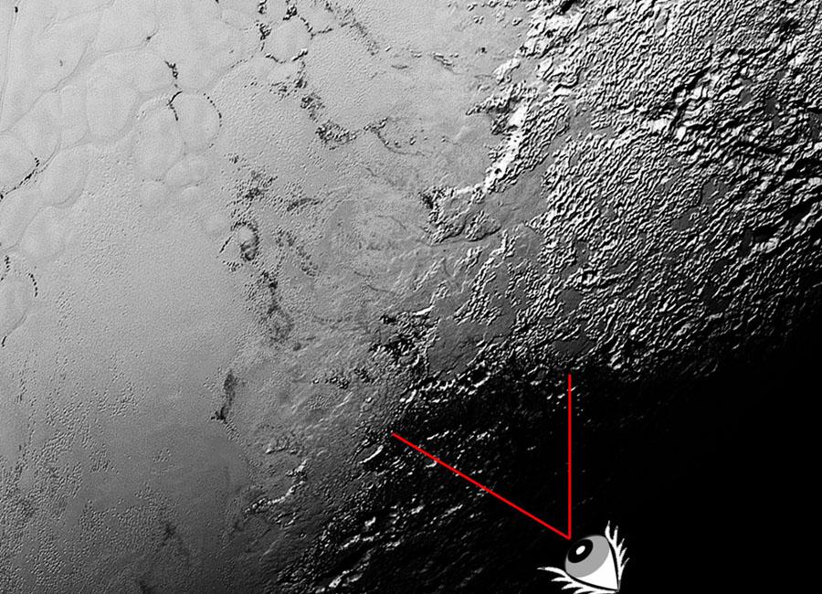 """Vue """"verticale"""" du secteur des glaciers au Sud-Est de Sputnik Planum"""