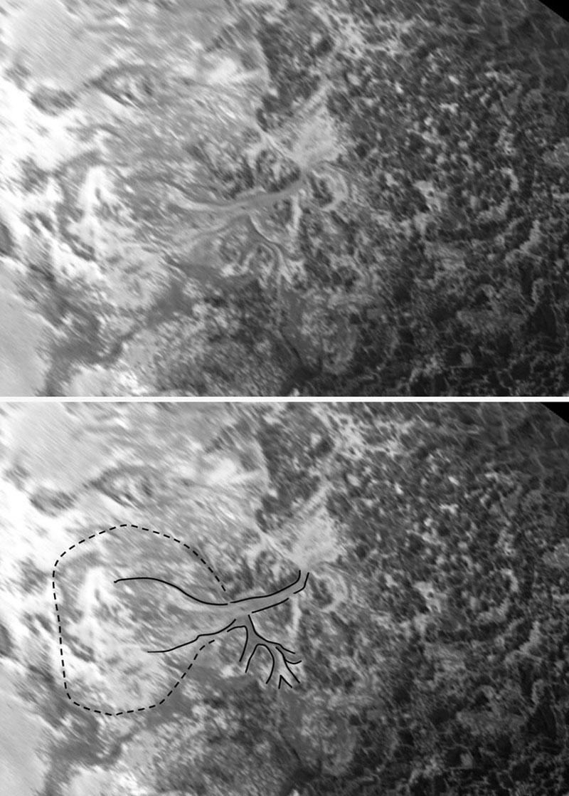 Image (brute et interprétée) des gaciers ci-dessus, prise en vue oblique (figure 21) puis projetée sur une vue verticale