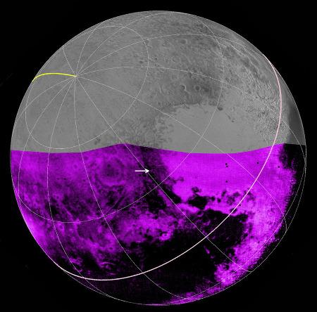 Intensité des bandes spectrales du méthane sur une partie de Pluton