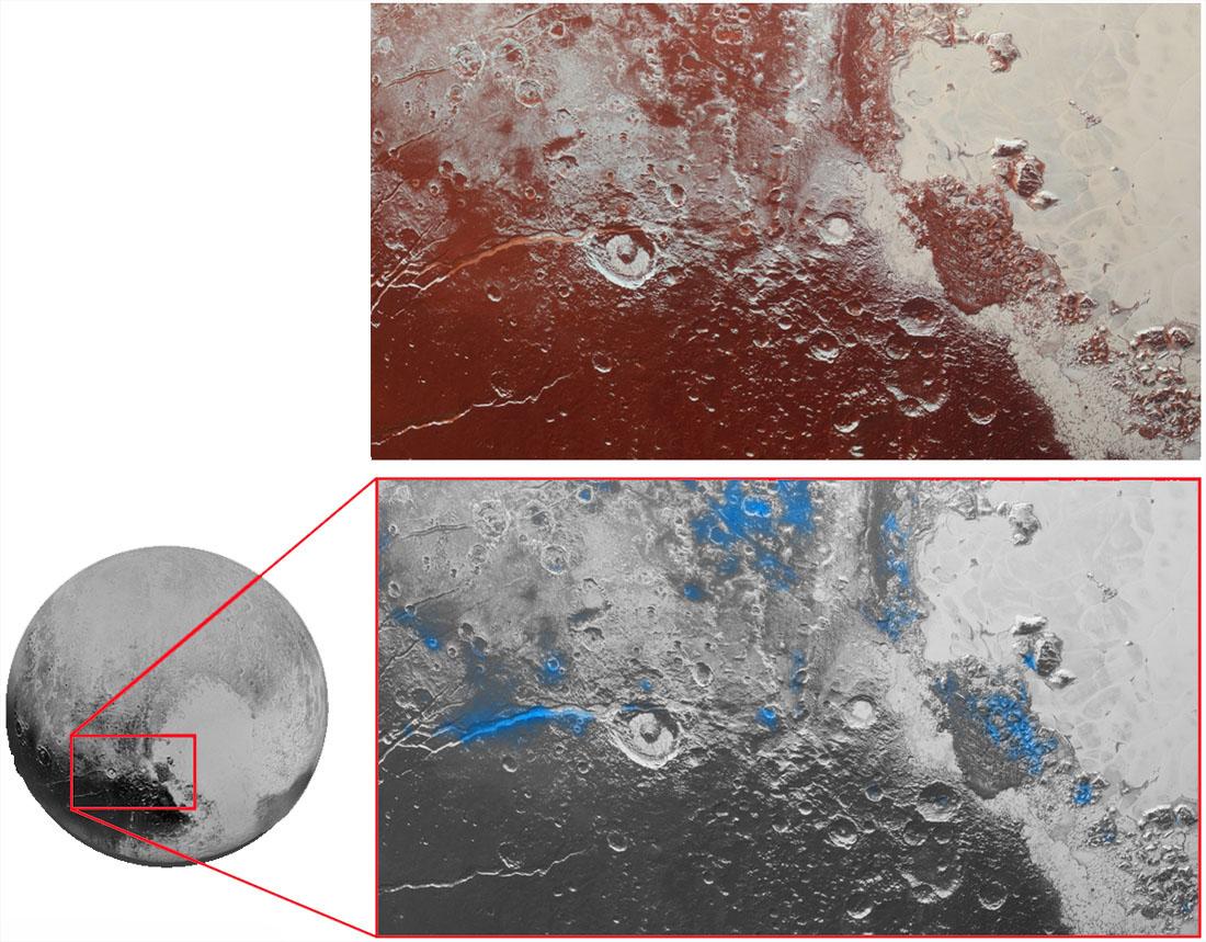 Pluton, région du cratère Eliot, image fausses couleurs et localisation de la glace d'eau