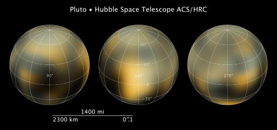 Images de Pluton obtenues en 2003 et 2004 par le télescope spatial Huble