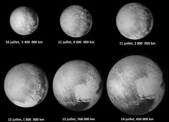 Série de six images (ou mosaïques d'images) montrant une moitié de Pluton dans sa globalité