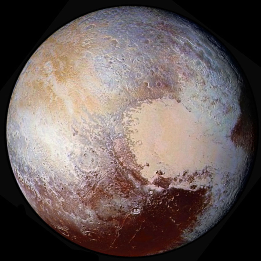 Vue globale en fausses couleurs de Pluton photographié depuis 450000km