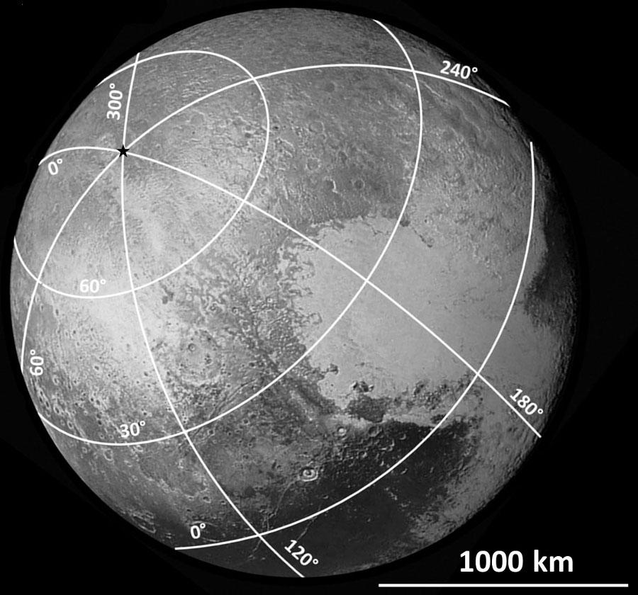 Report (approximatif) du système de coordonnées sur la moitié du globe de Pluton éclairée lors du survol du 14 juillet 2015