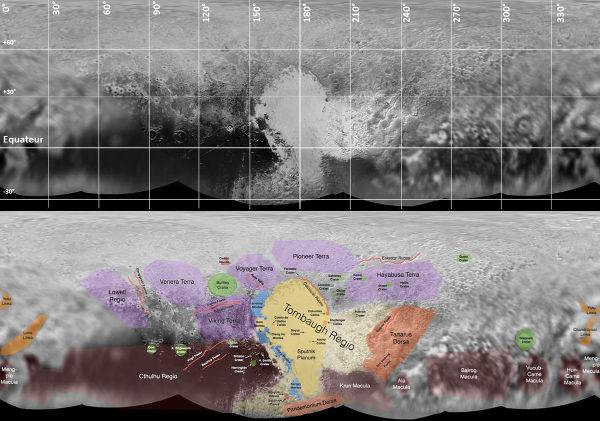 Planisphère de Pluton, avec son système de coordonnées