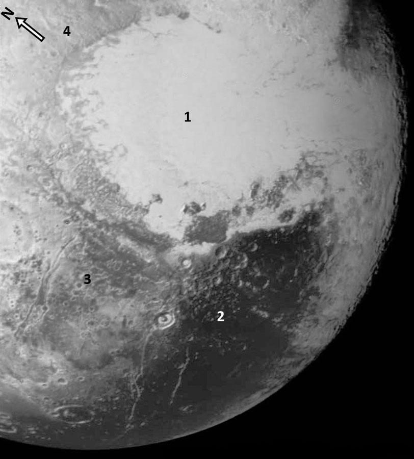 Le quart Sud-Ouest de la face bien connue de Pluton