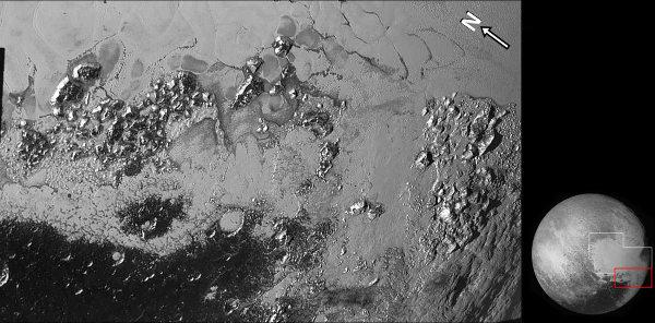 Mosaïque brute de la partie Sud-Ouest de Sputnik Planum