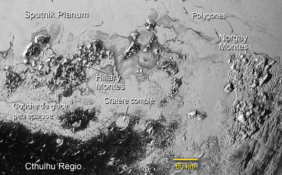 Mosaïque annotée de la partie Sud-Ouest de Sputnik Planum