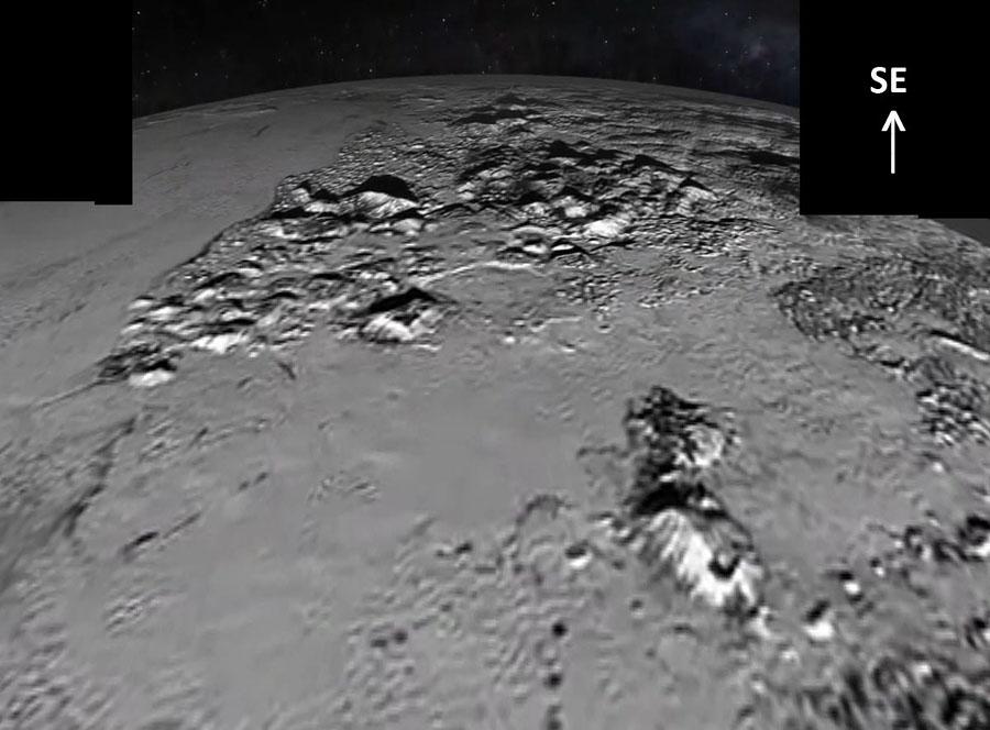 Vue oblique des Norgay Montes en direction du Sud-Est