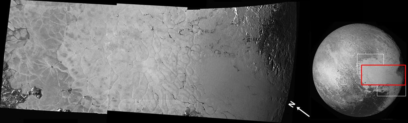 Mosaïque brute de la partie centrale de Sputnik Planum et de son étonnante structure polygonale