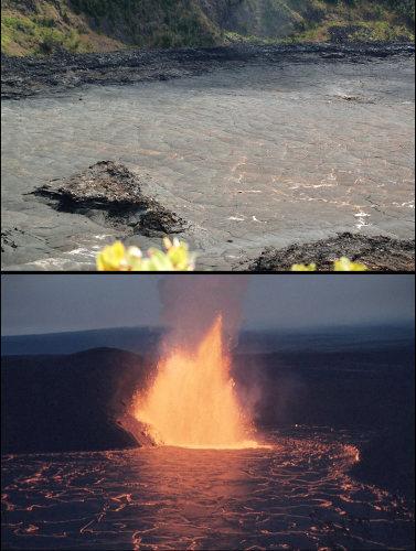 La surface du Kilauea Iki Crater à Hawaï en 2007 et en 1959 lorsque que le lac de lave était actif