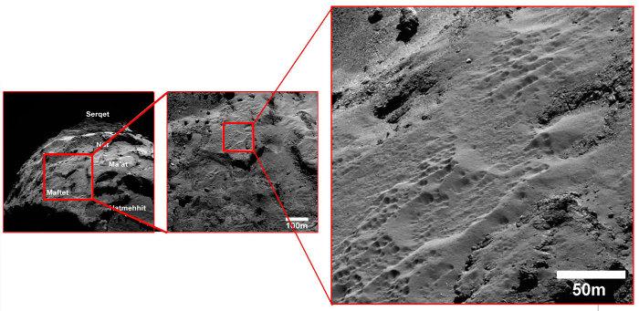"""Analogie possible des """"puits"""" de Sputnik Planum(à la différence d'échelle près), certains secteurs de la surface de la comète 67P/CG Churyumov Gerasimenko semblent aussi piquetés de puits"""