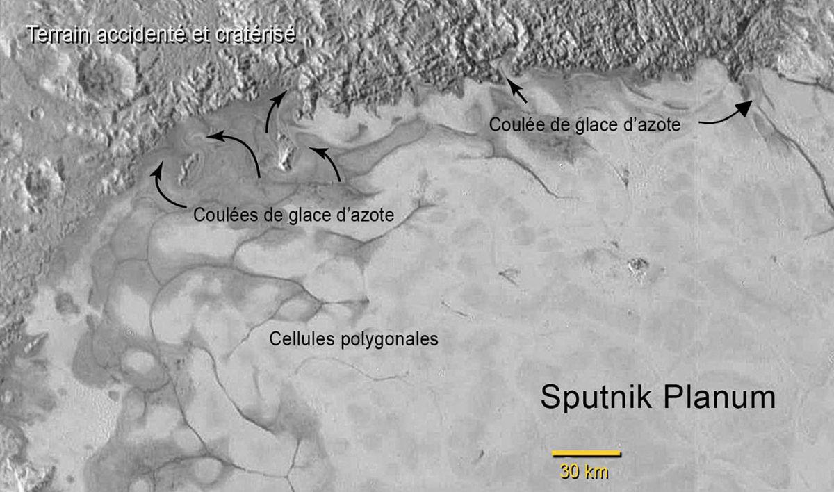 Vue annotée couvrant le Nord-Est de Sputnik Planum